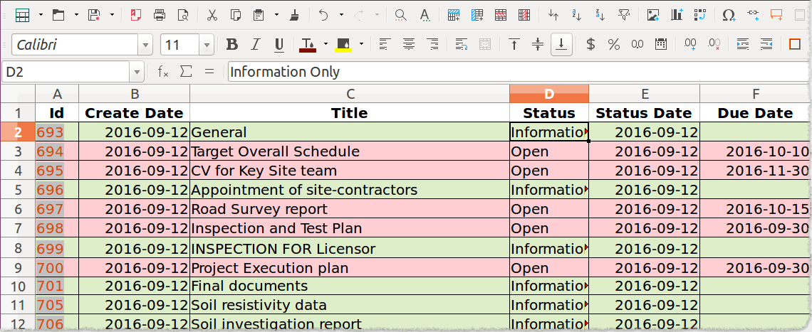 Rolling list of actions in Excel format